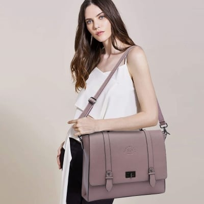 college girl with a cute purple laptop briefcase on her shoulder