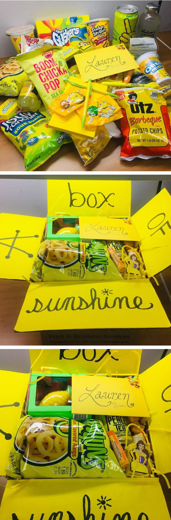 yellow items to put in sunshine care package for a college student