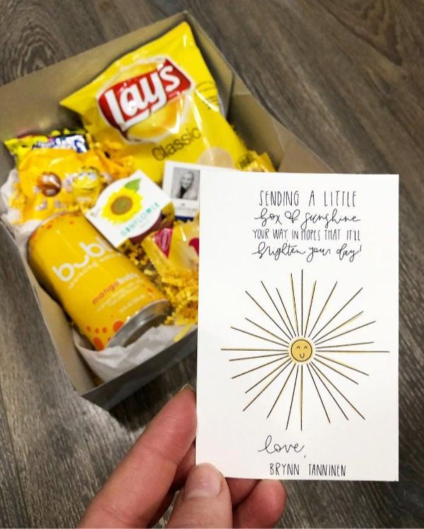 cute box of sunshine sent to a boyfriend