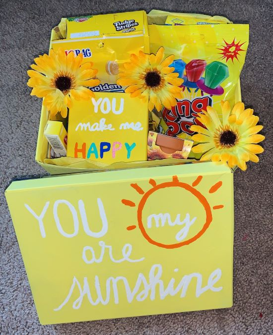 """yellow boy that says """"you are my sunshine"""" + yellow gifts for boyfriend"""