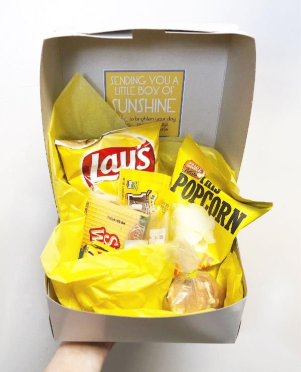 co-worker sunshine in a box idea with food