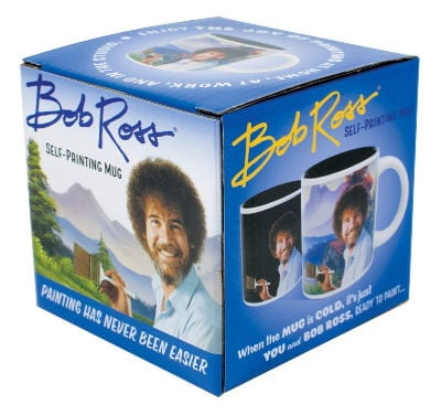 """a """"self painting"""" Bob Ross mug is a funny gift idea for college students"""