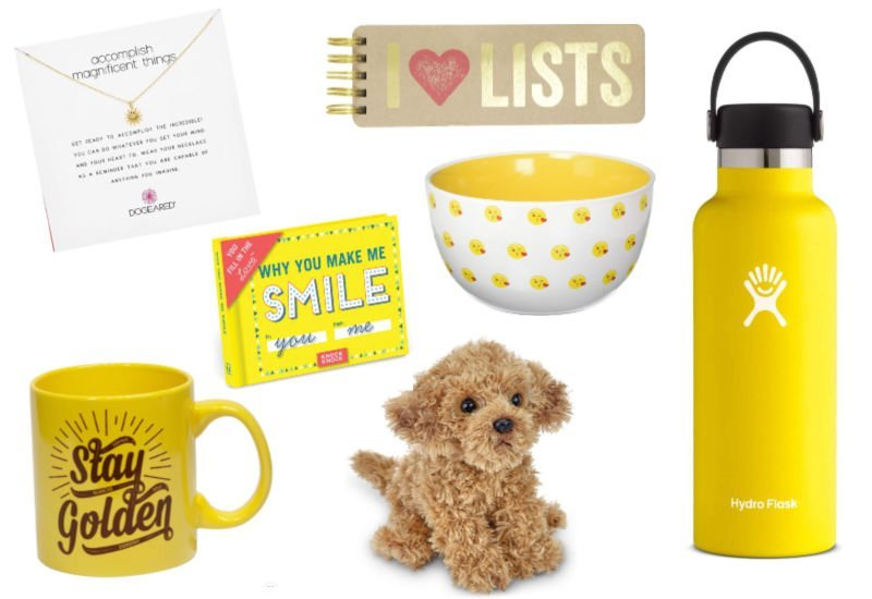 cute yellow things (hydro flask, labradoodle plush, golden girls mug)