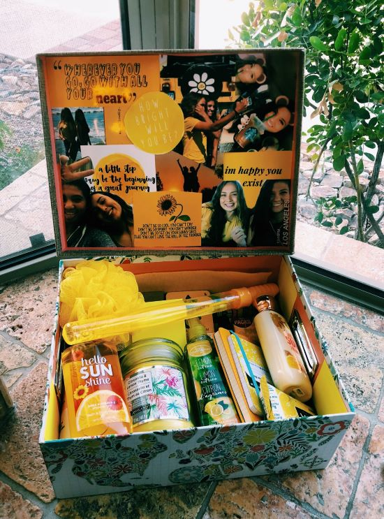 vsco girl sunshine box with cute yellow gifts and pictures