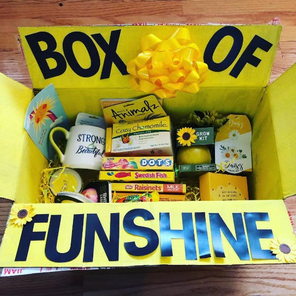 "a box of ""funshine"" with gifts to make you feel happier"
