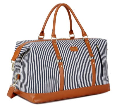 stylish idea for what to give a college girl - blue striped weekender duffel bag