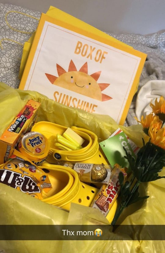 yellow gift care package for student with printable sun