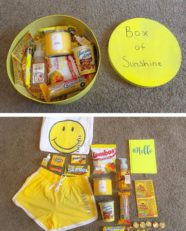 round box of sunshine with shorts, smiley face shirt, yellow color packaged snacks