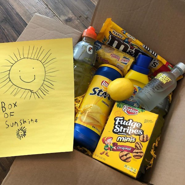 "care package with hand drawn sun & ""box of sunshine"""