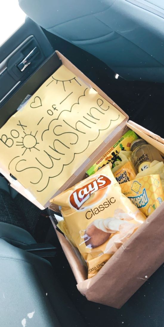 """gift box with chips, sour patch kids, and lemonheads """"box of sunshine"""" idea"""