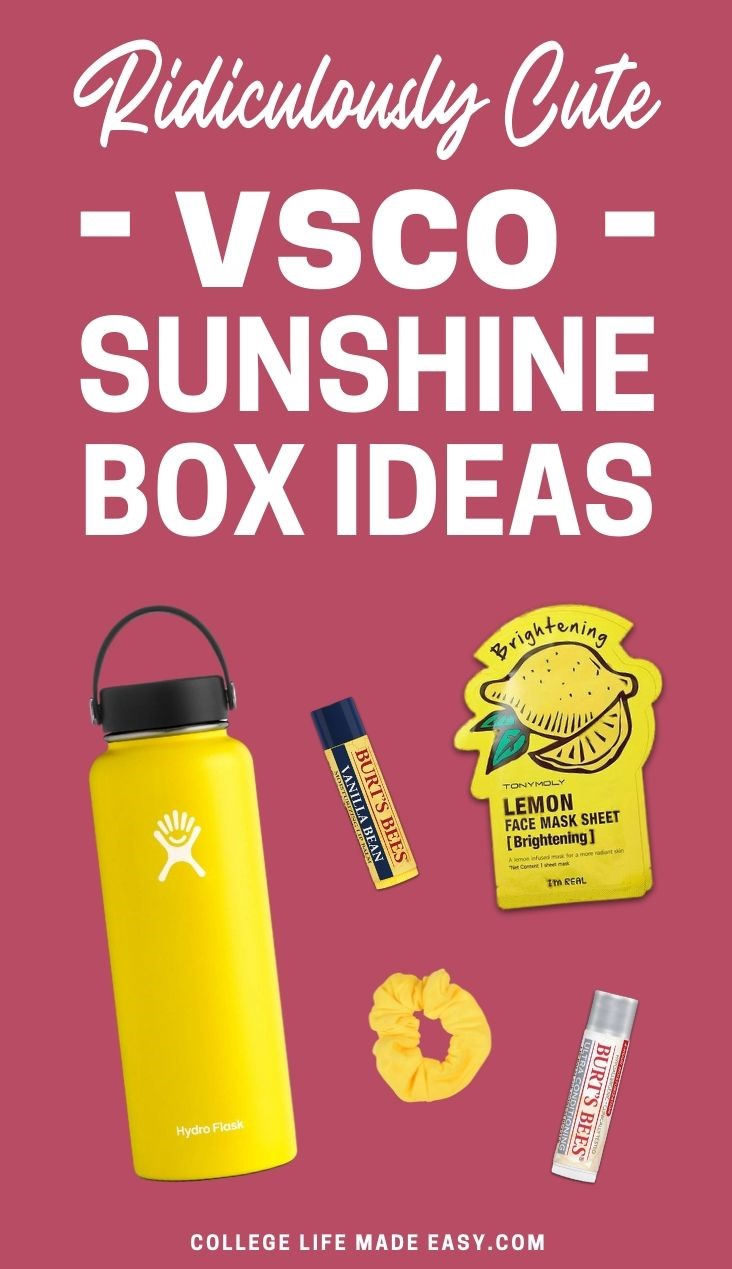 ridiculously cute box of sunshine ideas from vsco - pinterest graphic
