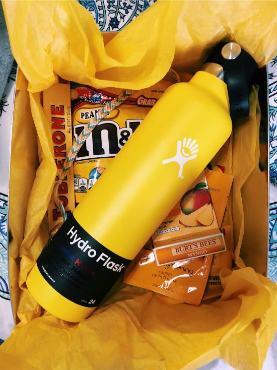 cute box of sunshine vsco with a hydro flask, and yellow candy