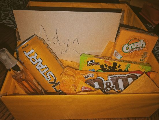 vsco birthday gift for him - yellow box with snacks