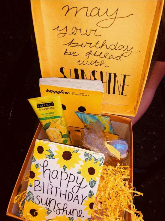 yellow themed happy birthday sunshine box