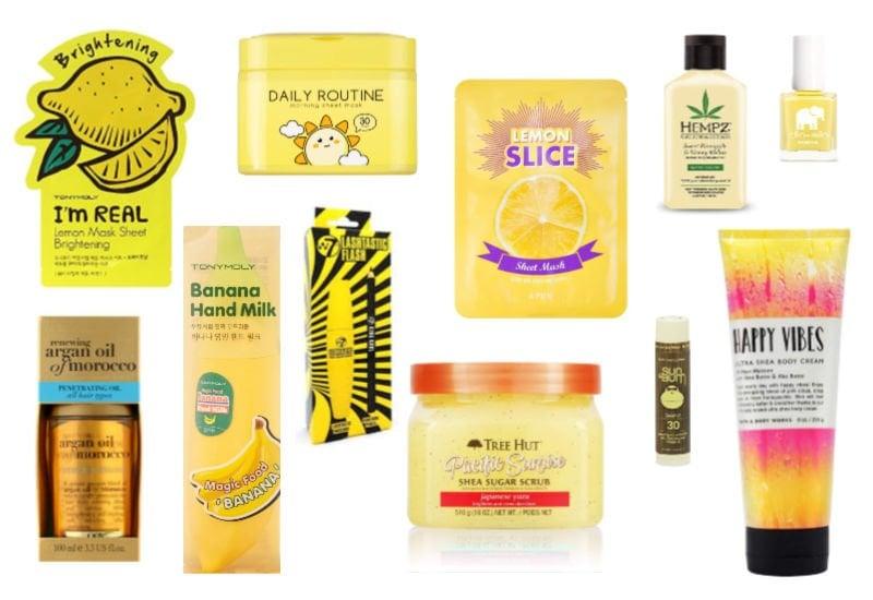yellow beauty items ideas - face masks, sugar scrub, lotion, mascara