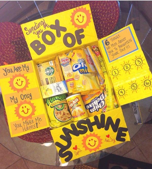 "yellow box with words ""box of sunshine"""