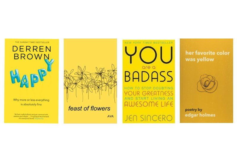 4 books with yellow covers