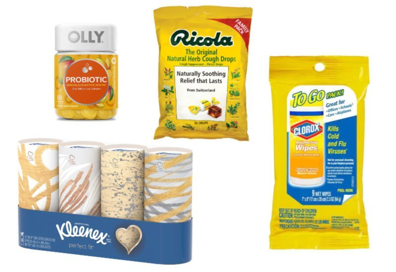 ideas for get well things - cough drops, clorox wipes, tissue, vitamins