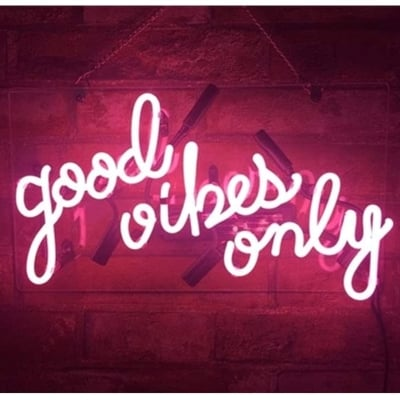 Realwell Pink Good Vibes Only Neon Sign Wall Decor for Room
