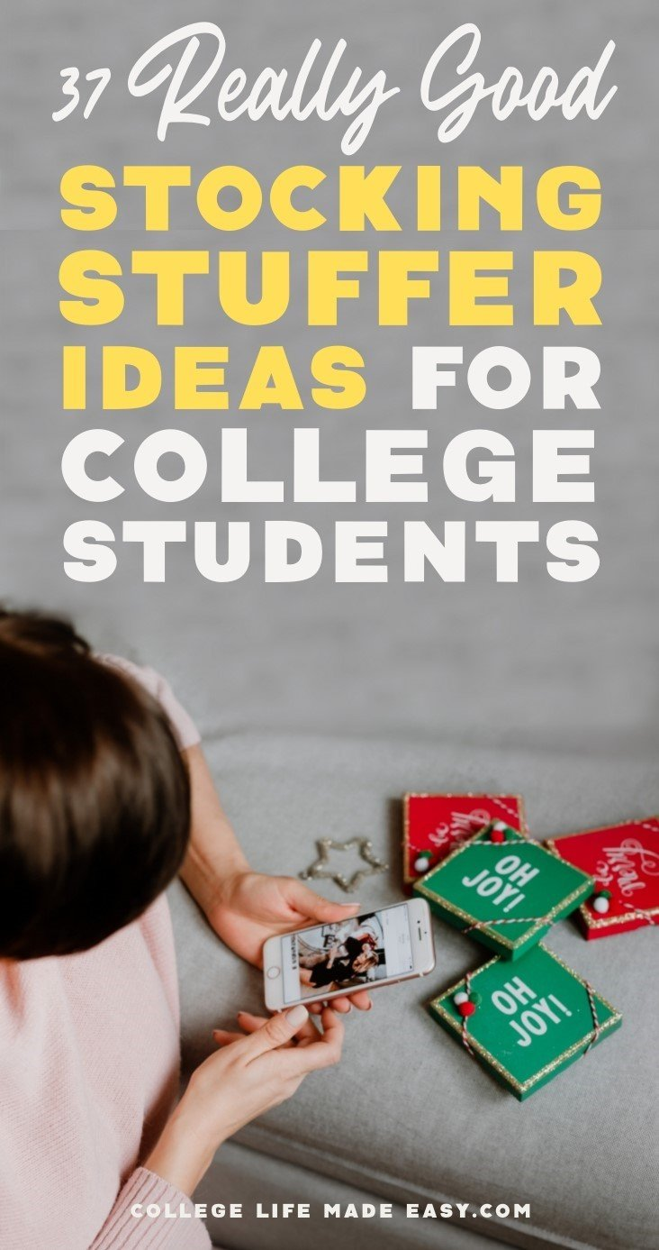 best stocking stuffer ideas for college students Pinterest infographic