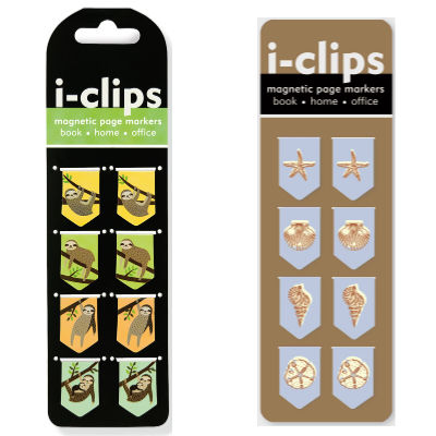iclip magnetic page marker bookmarks in sloth and seashells