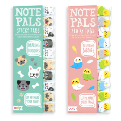 sticky tabs shaped like cute dogs and birds