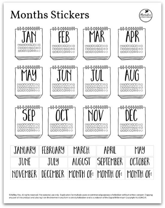 calendar bujo sticker printable