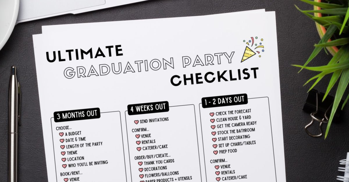 graduation party planning checklist on desk