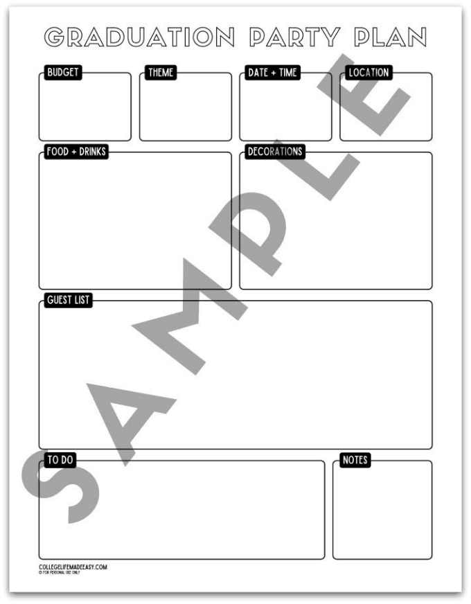 printable grad party planning template - example 1