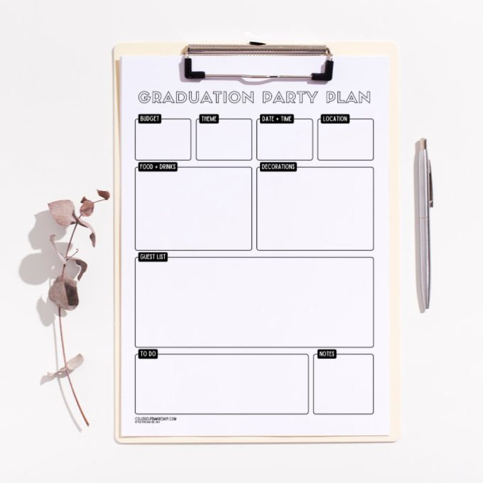 graduation party planner on a clipboard