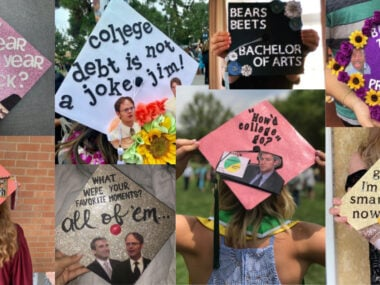 graduation caps decorated with quotes from the office tv show