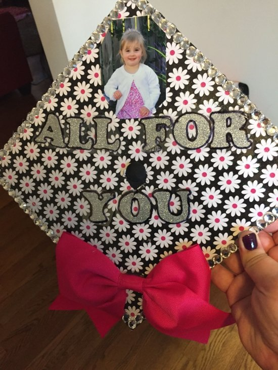 """mom graduation cap decorated to say """"all for you"""""""