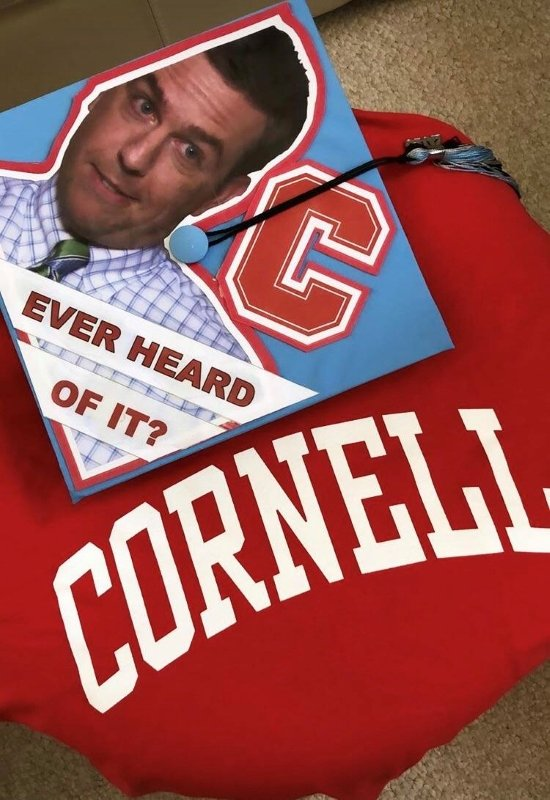 Cornell graduate's The Office Andy quote graduation cap