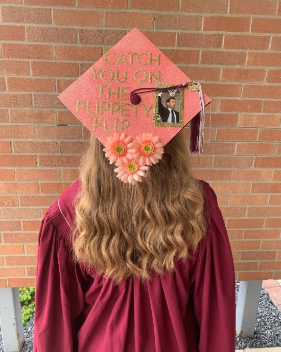 cute decorated graduation cap with catch you on the flippity flip