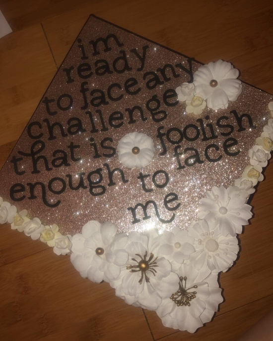 pink glitter graduation cap with Dwight Schrute quote
