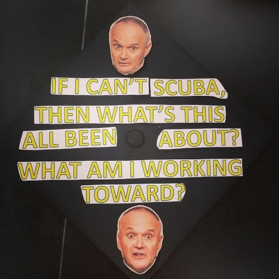 Creed scuba diving quote on graduation cap