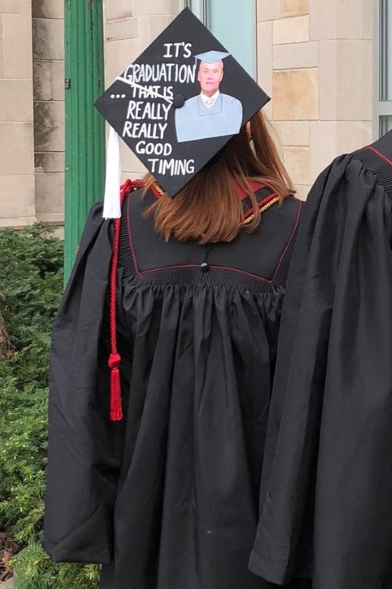 Creed quote from the Office on grad's cap