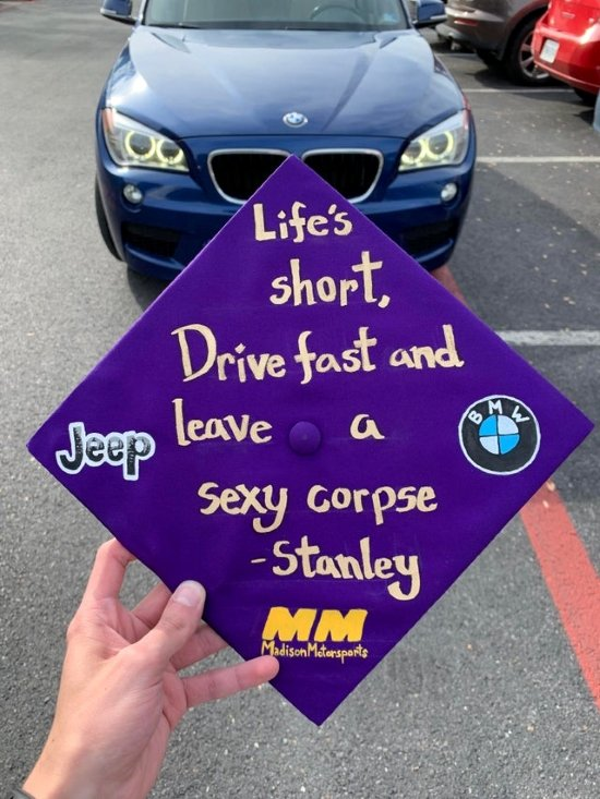 """""""life's short, drive fast and leave a sexy corpse"""" - Stanley quote on purple grad cap"""