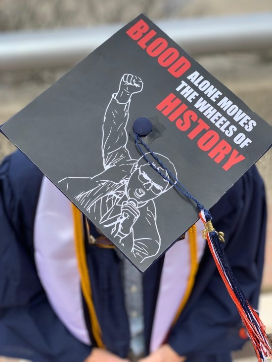 """""""blood alone moves the wheels of history"""" - Dwight the office graduation cap quote"""