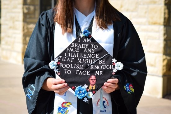 graduation cap decorated with a quote from Dwight in The Office