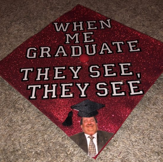 red sparkle decorated graduation cap with Kevin from the office show