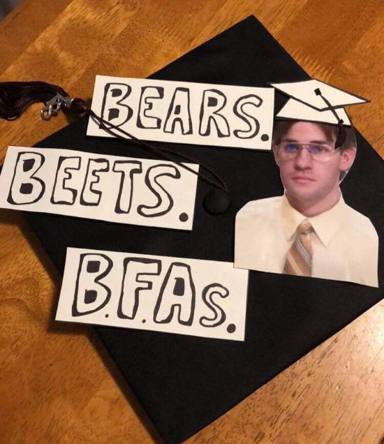 funny cap decoration play on words from the office BBB