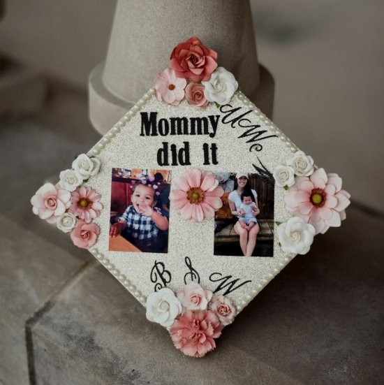 mommy did it graduation cap decorated with pictures and flowers
