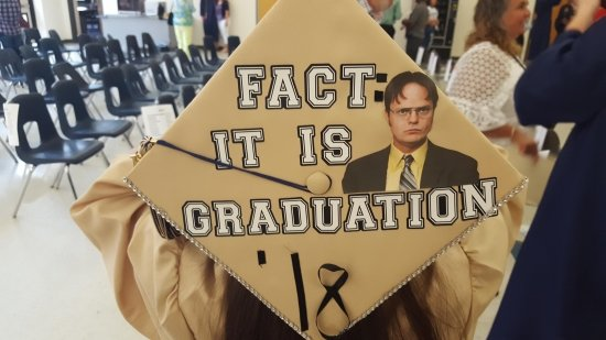 """""""Fact: it is my graduation"""" on gold grad cap with Dwight Schrute"""