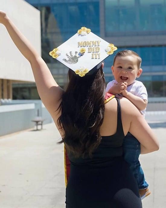 happy graduating mom and baby