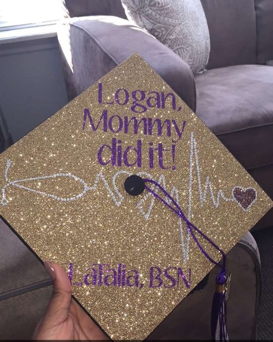 purple and gold decorated graduation cap mommy did it