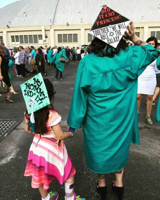 cute matching mother daughter graduation cap idea