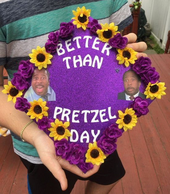 Better than pretzel day the office purple decorated cap