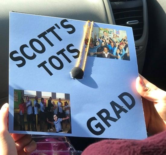"""grad cap decoration that reads """"scott's tots grad"""""""