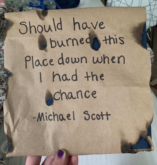 """The office quote, """"should have burned down the place when I had a chance"""" decorated graduation cap"""
